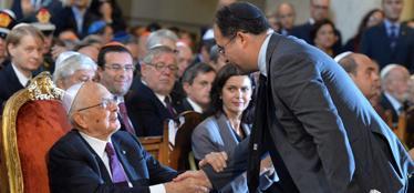 Il presidente Napolitano e Riccardo Pacifici (foto Ansa)