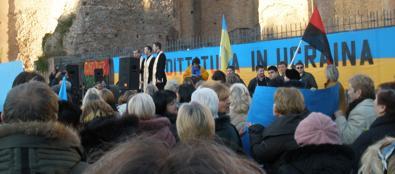 La manifestazione degli ucraini a piazza della Repubblica
