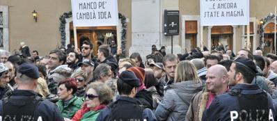 I «forconi» in zona Montecitorio (foto Lapresse)
