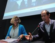 Melandri e Hanru alla conferenza stampa (Omniroma)