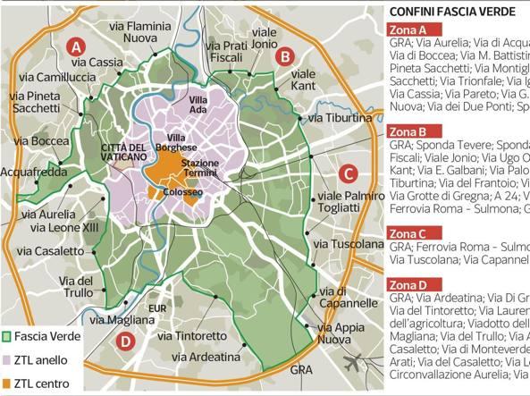 Cartina Della Fascia Verde A Roma.Roma Domenica Antismog Blocco Del Traffico Anche Per I Diesel Euro 6 Corriere It