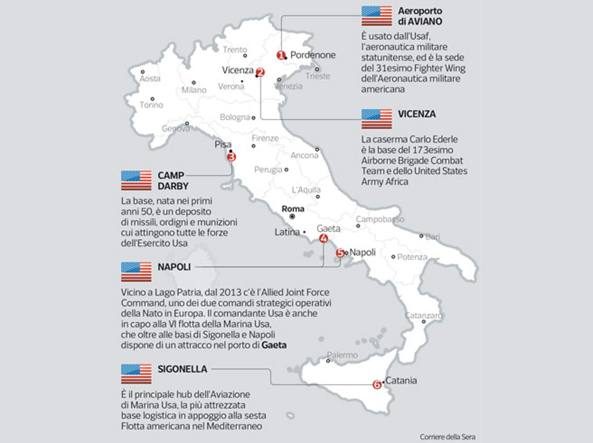 Siria, l'aiuto logistico da Aviano. Attacco e rifornimenti, così l'Italia può dare le basi. Nell'area che ospita la base siciliana le misure di sicurezza sono state aumentate e, come prevede la procedura, dichiarato lo stato di guerra anche ad Aviano, a Camp Darby, Vicenza, Napoli, Gaeta.