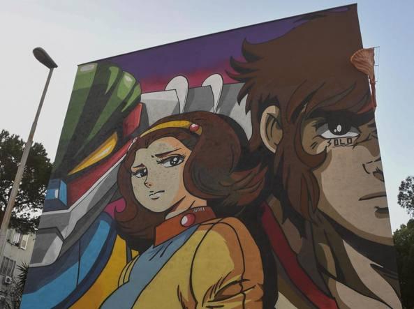Tor bella monaca il murale di solo dedicato a jeeg robot con miwa