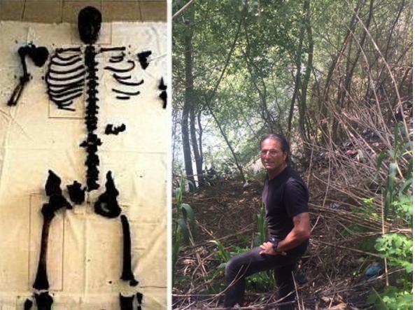 Lo scheletro trovato nel 2007 e la sponda del Tevere dove è stato cercato l'anziano scomparso