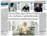 La pagina del Corriere del 2 dicembre 2018 con l'intervista alla sora Pina