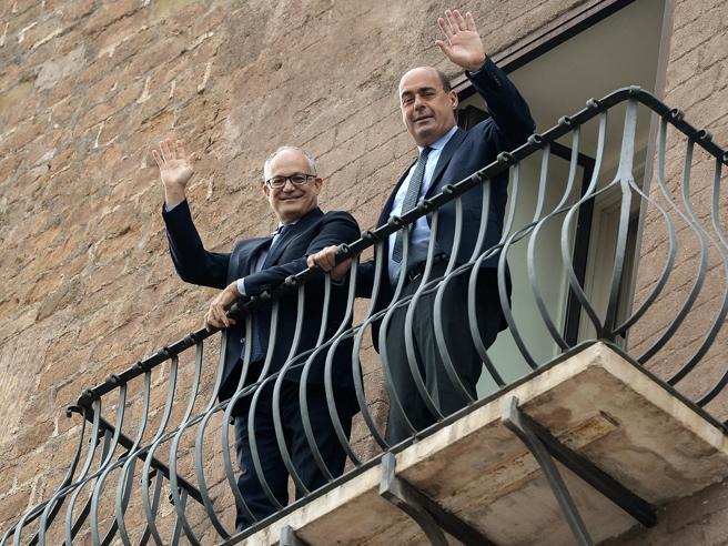 Gualtieri e Zingaretti in Campidoglio«Ora il rilancio di Roma»