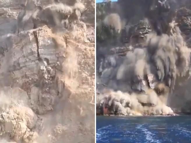 Ventotene, le impressionanti immagini del crollo della falesia a mare