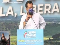 Manifestazione della Lega, Salvini con Michetti-Matone: «Basta malgoverno a Roma»